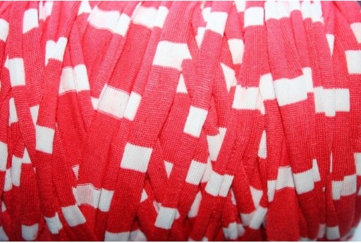 Lycra Ribbon Cord Red/White Stripes - 1,5m FY09