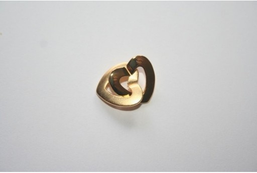 Rhodium Plated Copper Double Heart Clasp 14,2x14,2mm DBC119Y