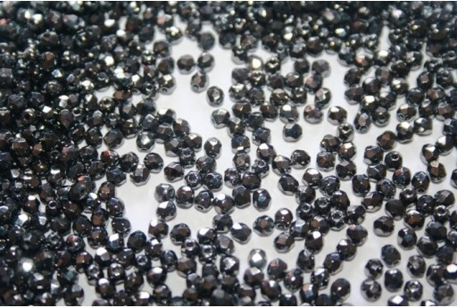 Fire Polished Beads Hematite 3mm - 60pz