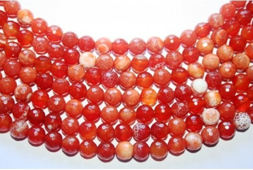 Fire Agate Beads Brick Red Sphere 8mm - 46pz