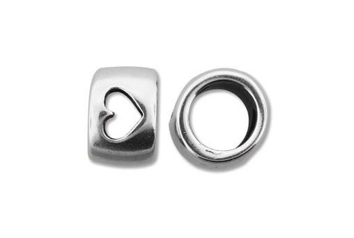 Climbing Silver Heart Spacer Charm Bead 10x15mm - 1pc