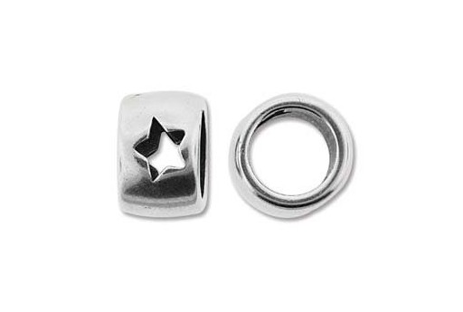 Climbing Silver Star Spacer Charm Bead 10x15mm - 1pc