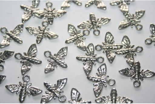 Tibetan Silver Bee Pendants 17,5x13,5mm - 12pcs