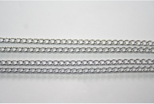 Aluminium Chain 4,4x2,8mm Silver Plated - 2m