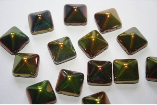 Perline Pyramid 12X12mm, 5Pz., Magic Green Col.95400