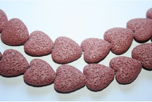 Lava Rock Beads Pink Heart 20x21mm - 2pz