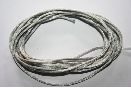 Satin Rattail Cord 1mm Silver Grey - 5m