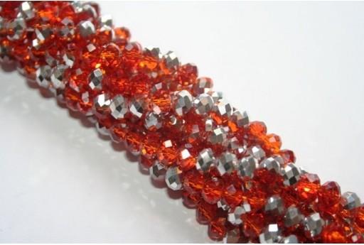 Filo 100 Perline Vetro Rondella Sfaccettata Argento/Arancio 6x4mm VE68AL