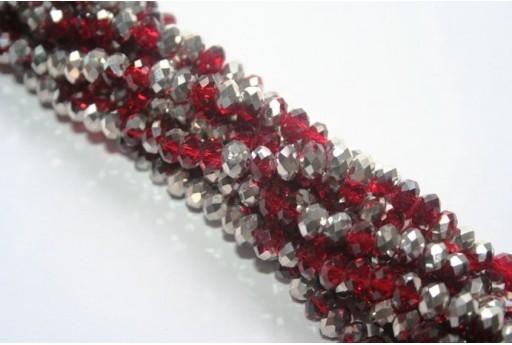Filo 100 Perline Vetro Rondella Sfaccettata Argento/Rosso 6x4mm VE68AN