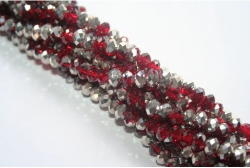 Chinese Crystal Beads Faceted Rondelle Silver/Red 6x4mm - 100pz