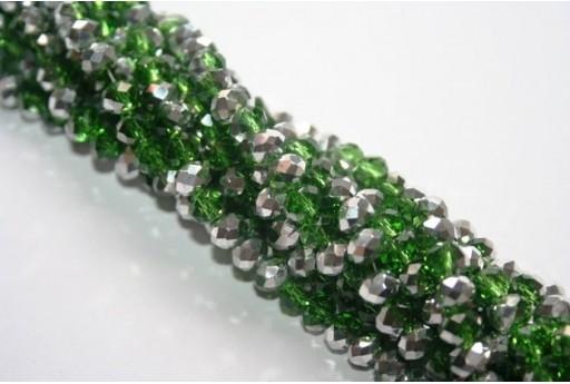 Perline Vetro Rondella Sfaccettata Argento/Verde 6x4mm - 100pz