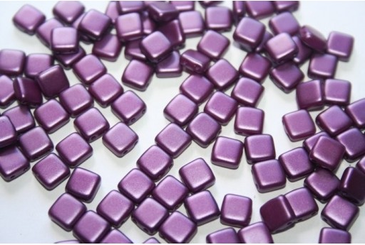 Tile Beads 6mm, 50Pz., Purple Pearl Col.25032AL