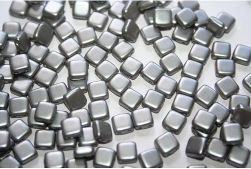 Perline Tile 6mm, 50Pz., Silver Pearl Col.25028AL