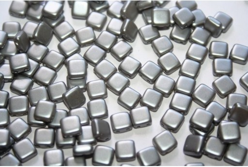 Perline Tile 6mm, 50Pz., Silver Pearl Col.25028AL