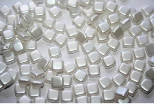Perline Tile 6mm, 50Pz., White Pearl Col.25001AL