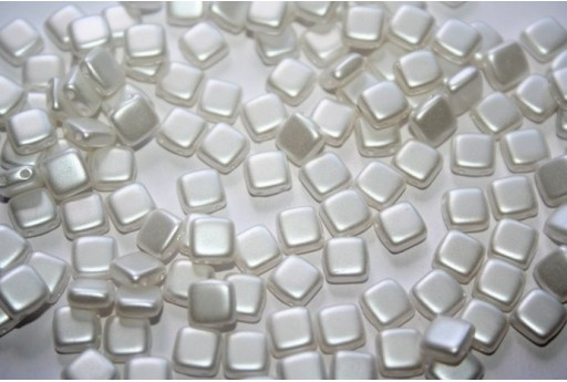 Tile Beads 6mm, 50Pz., White Pearl Col.25001AL