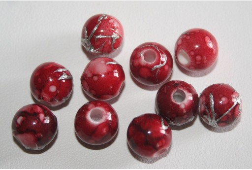 Perline Acrilico Rosso Sfera 10mm - 20pz