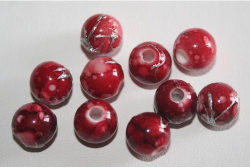 16 Perle Acrilico Rosso Cuore 16x15x7mm RES32C