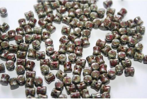 Perline Pellet 4x6mm, 50Pz., Opaque Red Dark Travertin Col.86805