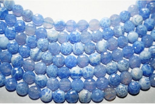 Fire Agate Beads Sky Blue Sphere 8mm - 48pz