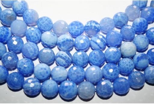 Filo 32 Pietre Agata Fuoco Azzurra Sfera 12mm