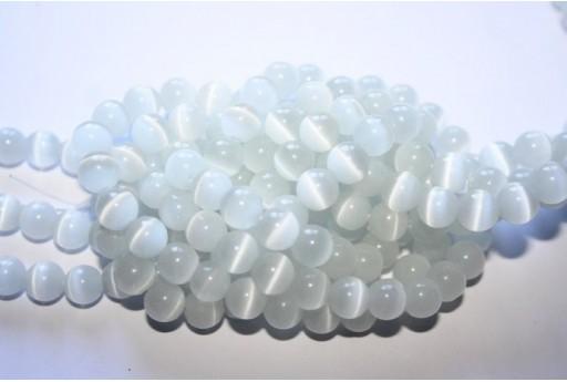 Filo 64 Perline Occhi di Gatto Bianco Sfera 6mm OG01