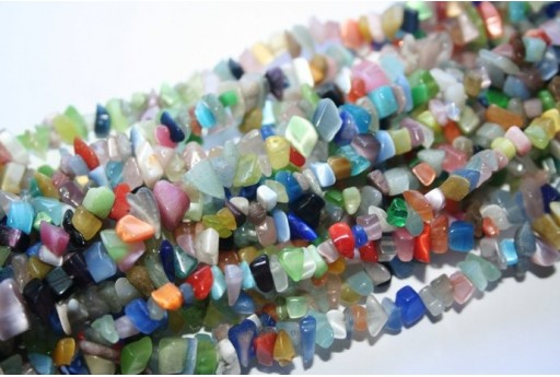 Cat's Eye Beads Chips Multicolor 5x8mm - 220pz