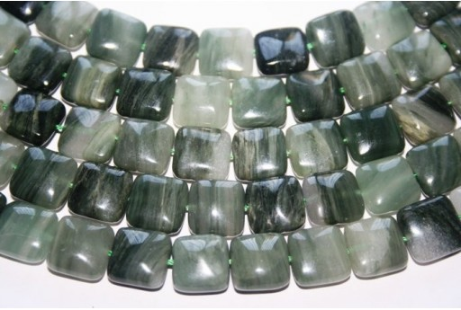 Green Line Quartz Square Bead Strand 32pcs 12mm QGL01