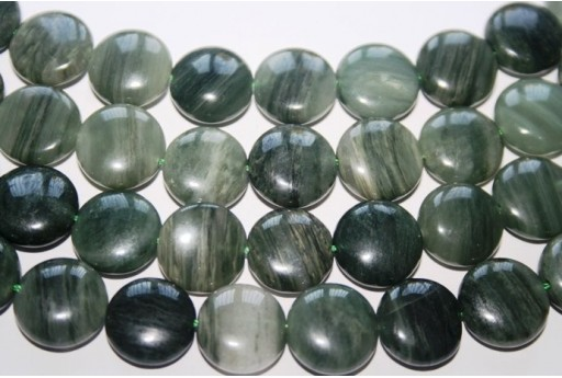 Green Line Quartz Flat Round Bead Strand 28pcs 15mm QGL02