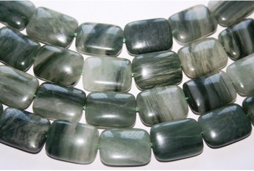 Green Line Quartz Rectangle Bead Strand 20pcs 20x15mm QGL03