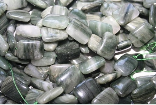 Green Line Quartz Rectangle Beads 20x15mm - 2pcs