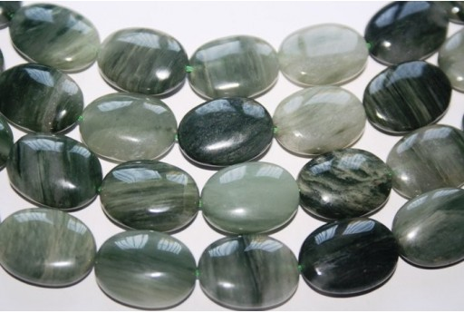 Green Line Quartz Oval Bead Strand 20pcs 20x16mm QGL04