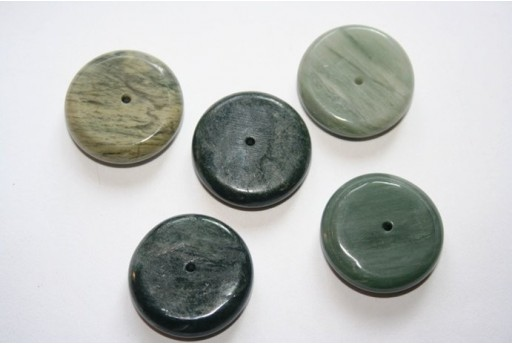 Green Line Quartz Button Beads 25x7mm - 2pcs