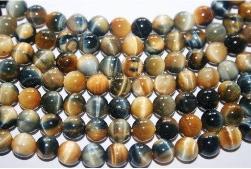 Tiger's Eye Round Bead Strand Blue/Gold 48pcs 8mm OCDT24