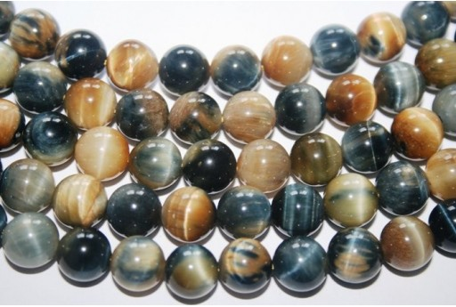 Tiger's Eye Round Bead Strand Blu/Gold 38pcs 10mm OCDT25