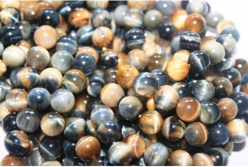Tiger's Eye Round Beads Blue/Gold 10mm - 2pcs