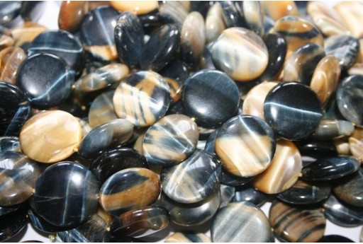 Tiger's Eye Blue/gold Lentil Beads 20mm OCDT26A