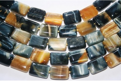 Tiger's Eye Rectangle Bead Strand Blue/Gold 28pcs 15x10mm OCDT28