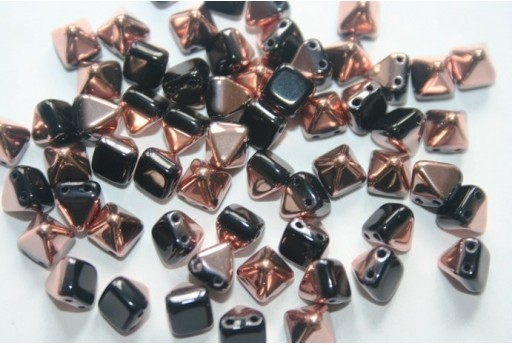 Pyramid Beads 6x6mm, 20Pz., Jet Capri Gold Col.27101