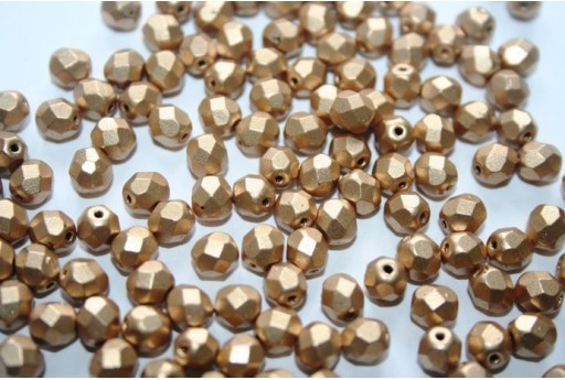 Perline Mezzi Cristalli 6mm, 30pz, Matte Metallic Flax Col.K0171JT