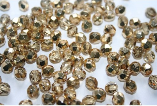 Fire Polished Beads Coated Gold 6mm - 30pz