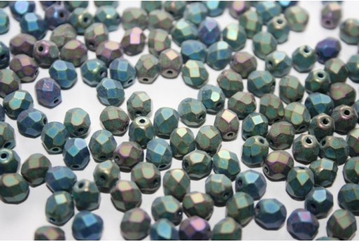Fire Polished Beads 6mm, 30pz, Matte Iris Green Col.21155JT
