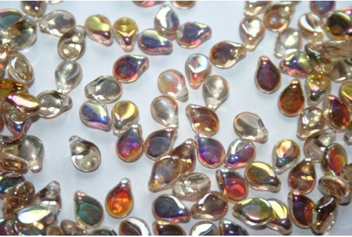 30 Perline Pip Beads 5x7mm Crystal Orange Rainbow Col.98535