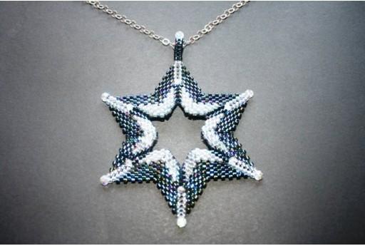 Kit Pendente Stella Miyuki Delica 10/0 Blue Iris