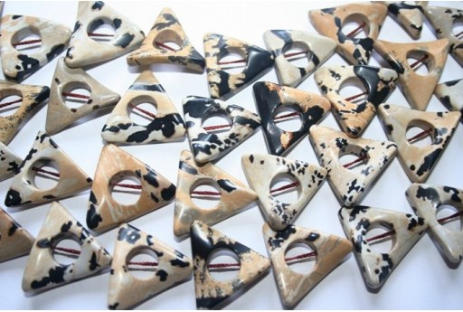 Jasper Dalmatian Beads Triangle Donut 24x24mm - 19pz