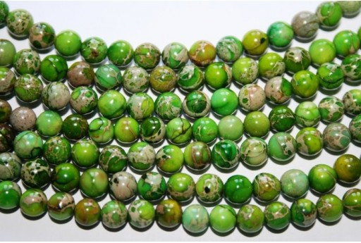 Jasper Impression Beads Green Sphere 6mm - 5pz