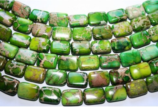 Jasper Impression Beads Green Rectangle 14x10mm - 2pz