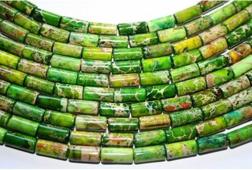 Jasper Impression Beads Green Tube 13x6mm - 2pz