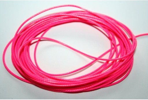 Neon Pink Waxed Polyester Cord 1mm - 12m MIN125AB