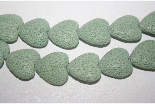 Pietre Lava Verde Acqua Cuore 20x21mm - 20pz